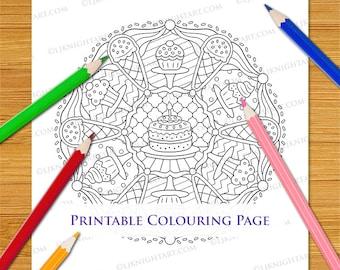 Cupcake Ice Cream Mandala Cute Colouring Page - Cartoon Sweet Food Printable Digital Download For Adults & Children