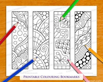 4 Digital Colourable Bookmarks with Easy Abstract Doodle Designs - PDF & JPG Download Coloring Page