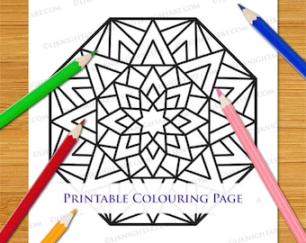 Easy Printable Octagon Mandala Coloring Page - Simple Abstract Digital PDF Download For Adults, Children & Beginners