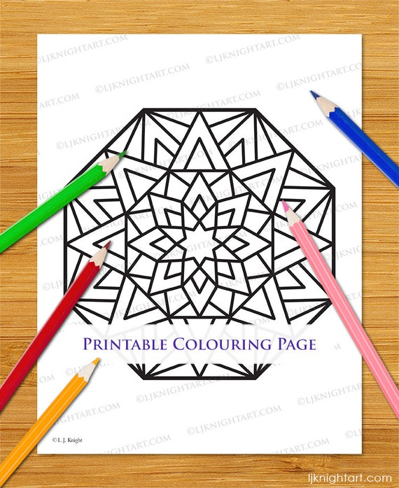 Easy Printable Octagon Mandala Coloring Page Simple Abstract Etsy