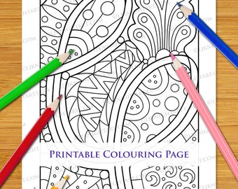 Easy Abstract Doodle Coloring Page Download For All Ages - Original Hand Drawn Line Art