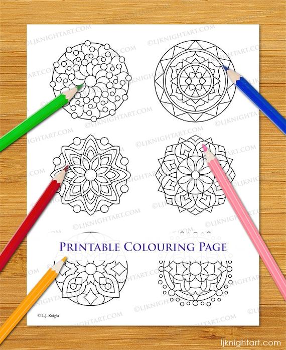 Small Mandalas Coloring Page With 6 Printable Mini Mandala Etsy