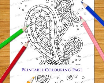 Abstract Paisley Doodle Printable Colouring Page for Adults - PDF Digital Download