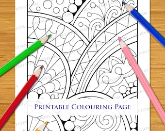 Easy Abstract Doodle Coloring Page Download For Adults & Children - Printable Hand Drawn PDF and JPG