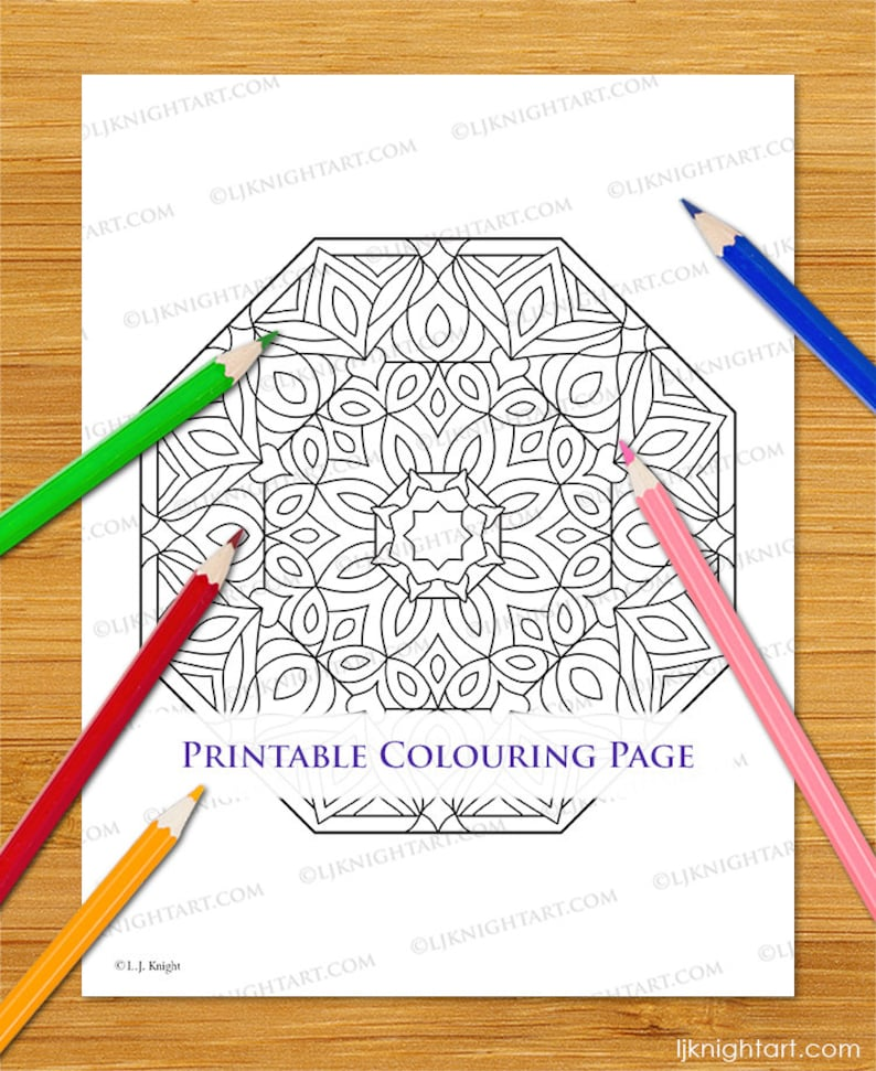 Pdf Octagon Mandala Coloring Page For Adults Printable Etsy