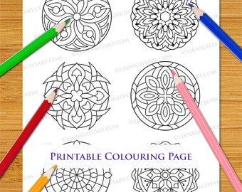 Printable Coloring Page With Set of Six Easy Abstract Mini Mandalas