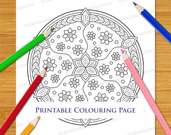 Easy Flower Mandala Downloadable Colouring Page For Adults and Children
