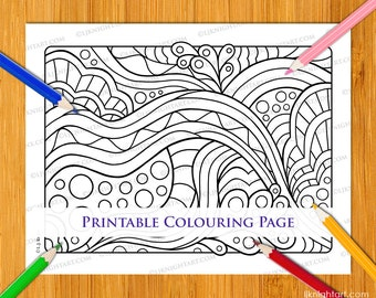 Easy Abstract Printable Colouring Page For Adults, Children & Beginners - Simple Hand Drawn Digital PDF Download