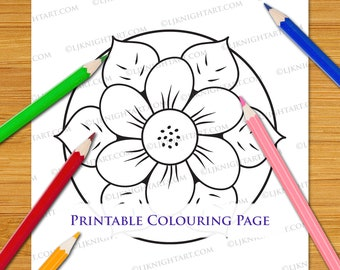 Very Easy Flower Mandala Digital Colouring Page - Printable PDF Download For Kids & Adults