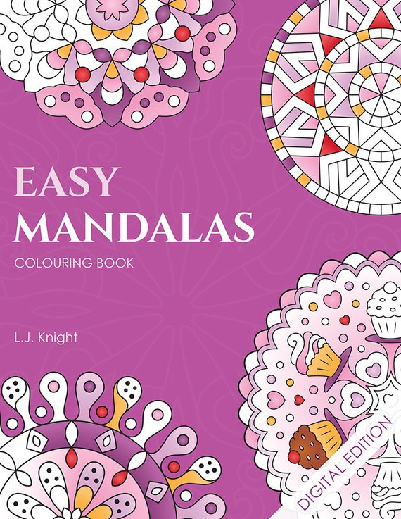 Easy Mandalas Printable Colouring Book For Adults and Kids