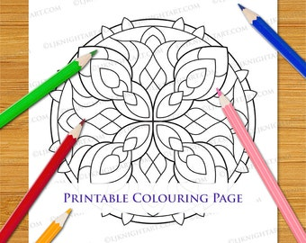 Digital Easy Mandala Colouring Page - Simple Abstract Geometric Printable Download For Adults & Kids