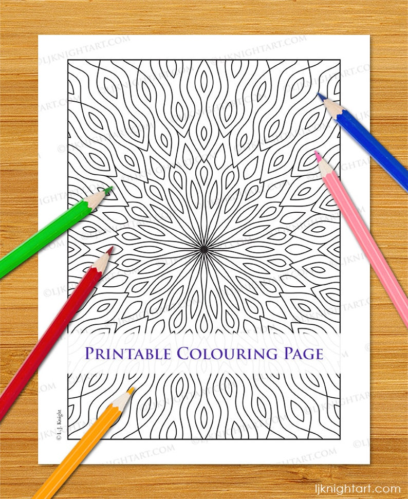 Easy Abstract Kaleidoscope Coloring Page Pdf Jpg Instant Etsy