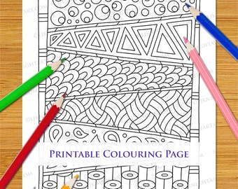 Easy Abstract Doodle Colouring Page Download - Simple Hand Drawn Tangle Printable Pattern Digital PDF Download For Adults, Beginners & Kids