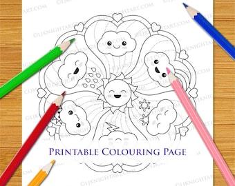 Cute Kawaii Clouds Mandala Printable Cartoon Colouring Page for Adults & Children
