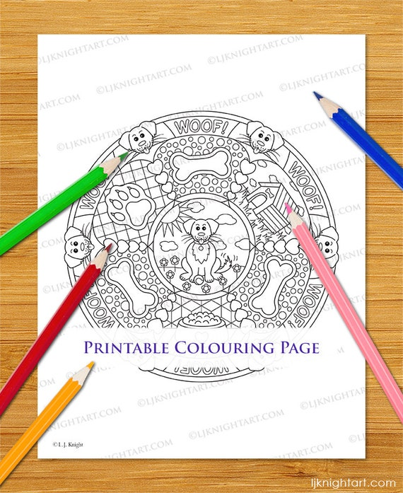 Cartoon Dog Mandala Printable Colouring Page Cute Animal Etsy