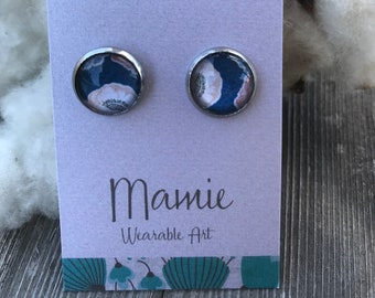 Homemade Paper Cabochon Stud Earrings - Blue Floral