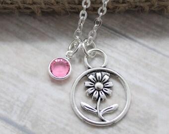 Birth Month Flower Necklace - Flower Charm - Personalized birthstone