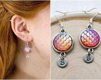 Mermaid Earrings Sterling Silver Hooks - Mermaid Dangle Earrings - Personalized Initial - Mermaid Scale Earrings