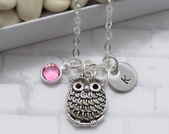 Owl Necklace - Silver Owl Necklace - Personalized - Owl Birthstone Necklace - Owl Jewelry - Owl Pendant Necklace - Owl Lover Gift