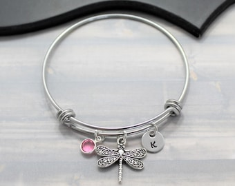 Dragonfly Bangle Bracelet - Dragonfly Jewelry - Stainless Steel Jewelry - Personalized Bangle - Dragonfly Pendant