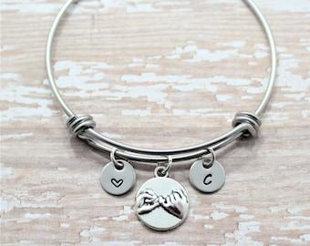 Pinky Promise Bracelet - Personalized Best Friend Bracelet - Long Distance Friendship Bangle - Pinky Promise Pendant - Promise Bracelet