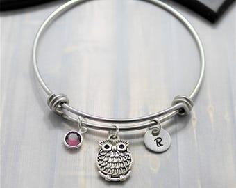 Owl Bangle Bracelet - Silver Owl Jewelry - Gift for Owl Lovers - Owl Themed Gift