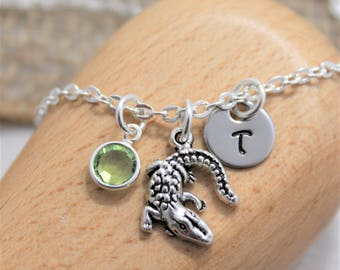 Alligator Necklace for Women - Alligator Jewelry - Personalized Birthstone & Initial - Gator Necklace - Alligator Gifts - Reptile Themed