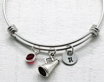 Cheer Bangle Bracelet - Cheer Charm - Cheer Coach Gift - Cheer Team Bracelet - Personalized Cheer Bracelet - Team Color Crystal