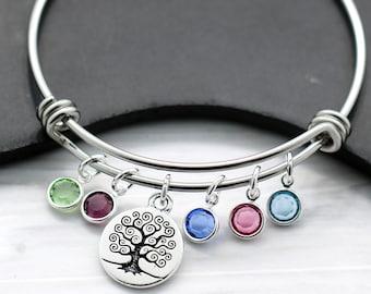 Mom Family Tree Bracelet - Bangle Bracelet for Mom - Kid's Birthstones - Gift for Mom - Mother's Day Bracelet - Family Tree Birthstone