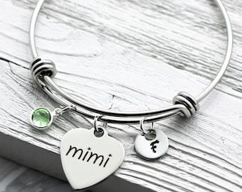 Personalized Mimi Bracelet for Women - Mimi Jewelry Customized for Mother's Day - Heart Shaped Mimi Charm - Custom Birthstone & Initial