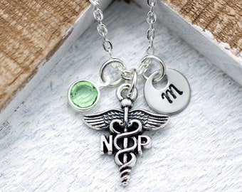 NP Necklace for Women - Personalized Initial & Birthstone - Nurse Practitioner Graduation Gift - Nurse Appreciation Gifts - Medical Jewelry