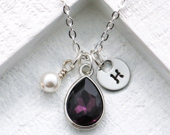 February Birthstone Necklace for Women - Personalized Initial   Pearl -  February Birthday Gifts for Aquarius - Amethyst Necklace for Pisces 868152ba8db4