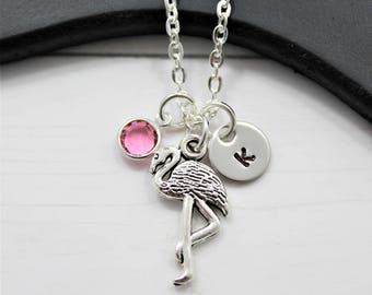 Flamingo Necklace - Silver Flamingo Jewelry for Girls - Personalized Initial Necklace - Flamingo Birthday Gift - Flamingo Party Necklace