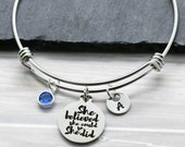 She Believed She Could So She Did Bracelet for Women - Inspirational Bracelet for Girls, Kids, Teens - Personalized Birthstone Initial