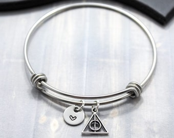 Deathly Hollows Bangle Bracelet - Harry Potter Jewelry - Potterhead - I Love Harry Potter - Harry Potter Fans