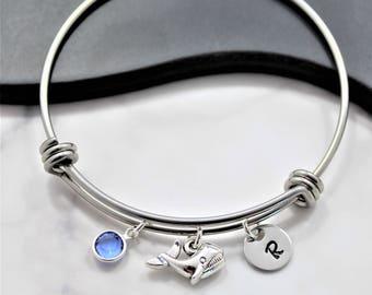 Whale Bangle Bracelet - Orca Bracelet - Whale Birthday Gift - Mini Whale Bracelet - Whale Jewelry - Whale Lover Gift