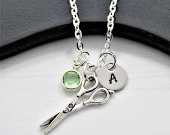 Hairdresser Scissor Necklace with Initial - Personalized Hairdresser Gifts  - Tiny Scissors Necklace Hairdresser Jewelry - Hairdressing gifts 9c60ea0749a4