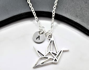 Personalized Origami Crane Necklace - Origami Theme Charm Jewelry - Crane Bird Necklace - Japanese Crane Necklace - Origami Gifts For Women