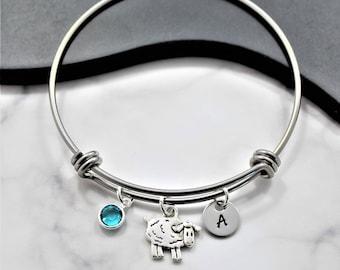 Sheep Bracelet for Women Girls and Kids - Farm Themed Gifts - Cute Sheep Charm - Sheep Bangle Bracelet - Personalized Sheep