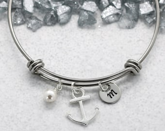 Anchor Bangle Bracelet for Women - Anchor Jewelry - Nautical Charm Bangle - Navy Jewelry for Women - Personalized Initial & Birthstone -