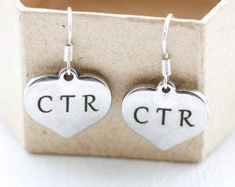 CTR Earrings Sterling Silver Hooks - CTR Jewelry for Women, Girls - Choose The Right Mormon Themed Religious Gift for Daughter - CTR Gifts