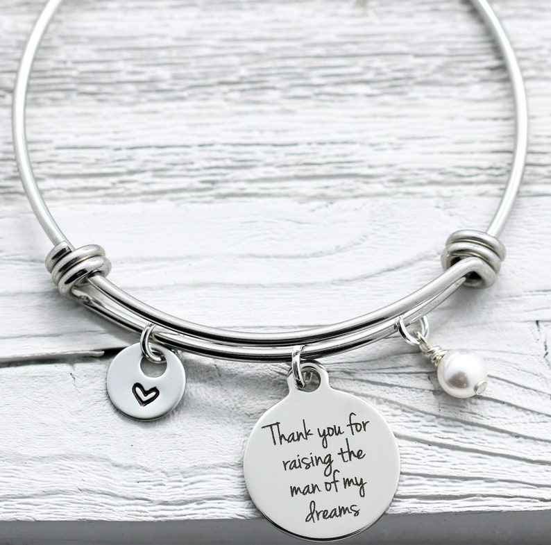 Mother-In-Law Gift His Mom Groom Mother In Law Bracelet for Mother/'s Day Thank You for Raising the Man of My Dreams Bangle Bracelet