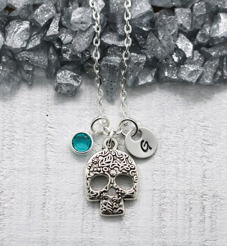 Sugar Skull Necklace for Women  Skull Jewelry  Candy Skull image 0