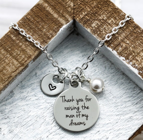 Thank You For Raising The Man and Girl of My Dreams Mother In Law Set of Necklaces With Dates and Pearl Birthstone Wedding Gift SET Set of 2