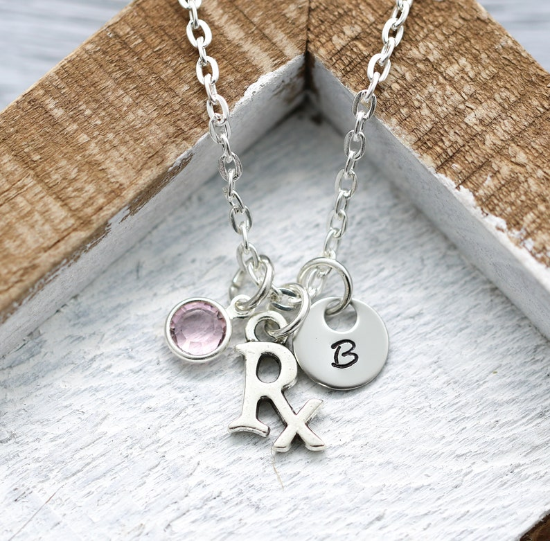 Rx Necklace for Women  Personalized Initial & Birthstone  image 0