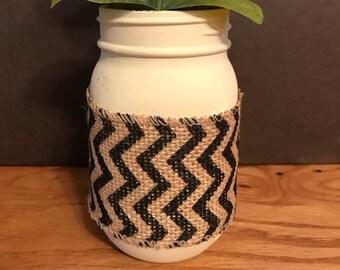 Chevron Wrapped Mason Jar