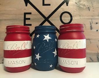 American Flag Mason Jar Set