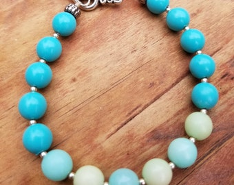 Semi Precious beads and Sterling Silver Bracelet