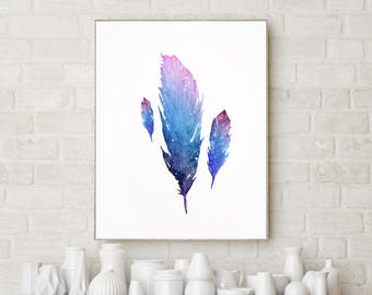Watercolor Feather, Feather art Print, Feather Clipart, Love Decor Feather, Feather Wall Art, Art Paint Idea, Feather Poster, Gift for her.
