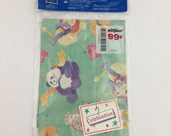 Vintage Gift Wrap Creations Plus Celebration Baby Pandas Lion Giraffe Kangaroo Child's Birthday Celebration Wrapping Paper